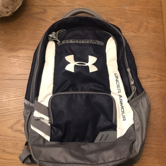 Under Armour Bags   Navy Blue And White Backpack   Poshmark ea8a301482
